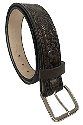 "American Eagle Design Handmade Mens Leather Belt Western Casual Belt 1.5"" Wide Cocoa"