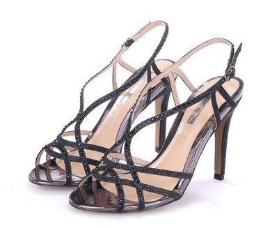 Women 's open - toed sandals cross - hot drill with high heels / sandals black 38 black 2 PG4m5Re