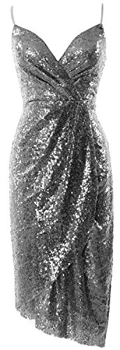 scollo donna matrimoni da abito paillettes abito sera V da cocktail formale Gray midi a con MACloth da 41zXPwnq