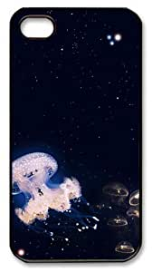Art Fashion Black PC DIY Case for iPhone 4 Generation Back Cover Case for iPhone 4S with Jellyfish