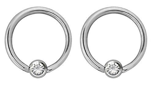 (Pair of 14g 12mm Every-Day Surgical Steel Clear Jeweled Captive Bead Ring Body Piercing Hoops)