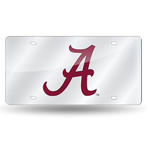Alabama Crimson Tide Laser Cut Auto Tag, Silver ()