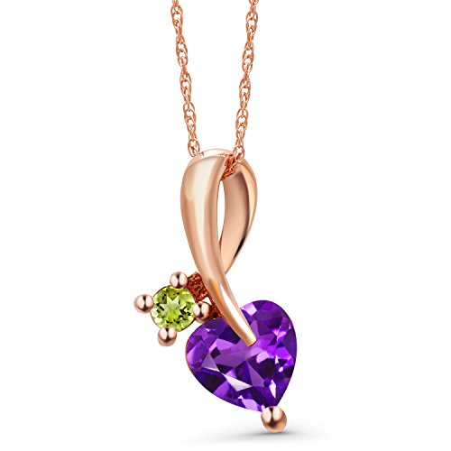 (Gem Stone King 0.77 Ct Heart Shape Purple Amethyst Green Peridot 10K Rose Gold Pendant)