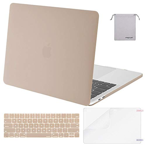 MOSISO Plastic Hard Case & Keyboard Cover & Screen Protector & Storage Bag Compatible 2019 MacBook Pro 13 Inch, Pure Camel