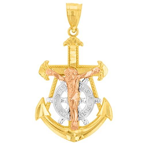(Solid 14K Tri-Color Gold Fleur de Lis Anchor with Mariner's Cross Jesus Crucifix Pendant)