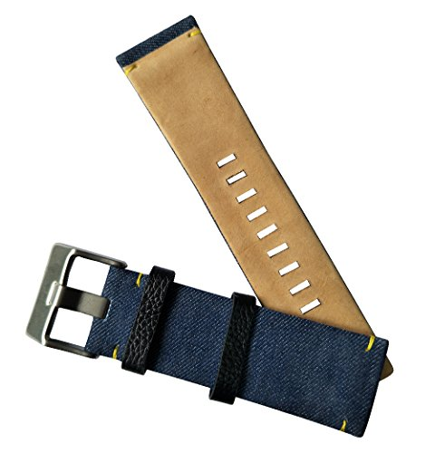 MSTRE 26mm Nylon and Calfskin Leather Watch Band Replacement Strap For Men's Diesel Watches (Blue) by MSTRE (Image #5)