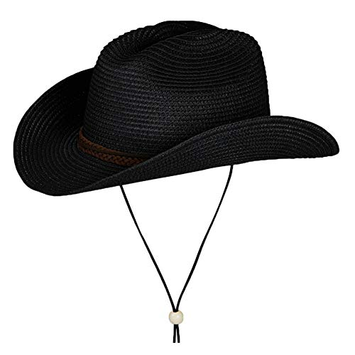 Straw Cowboy Hat,Summer Beach Sun Hats Men & Women Western Wide Curved Brim Fedora with Adjustable Chin Strap UPF50+ (M(7-7 1/8), A5-Black)