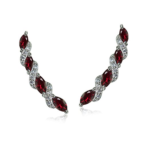 (Sterling Silver Created Ruby & White Topaz Twist Crawler Climber Hook Earrings)