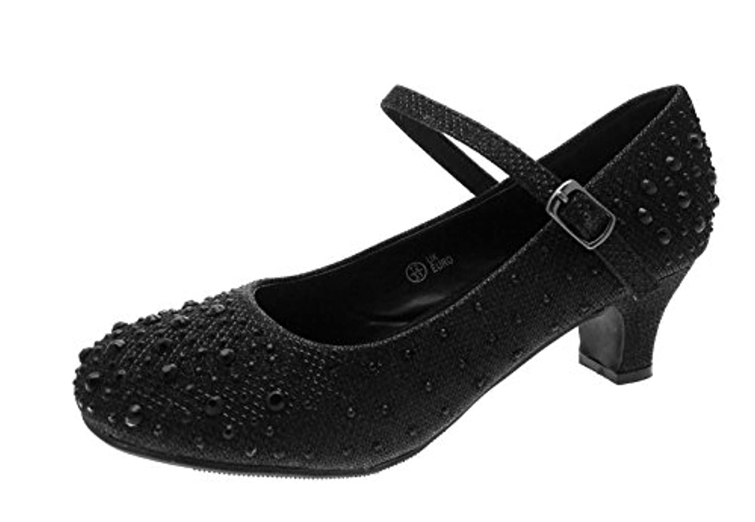 Kids Girls Mary Jane Party Shoes Diamante Glitter Bridesmaids Low Heels Black Size UK 2