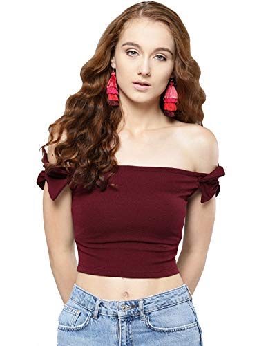 Veni VIDI VICI Maroon Shoulder Bow Bardot Top