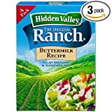 Hidden Salad Dressing & Seasoning Mix Original Ranch Buttermilk 1.6 OZ (Pack of 18)