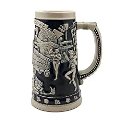 - A German-themed stein that is classic and exclusive. This .75 Liter cobalt blue Beer Stein incorporates all the themes of Germany's Oktoberfest which includes a beer wagon, hops, beer halls and much more.