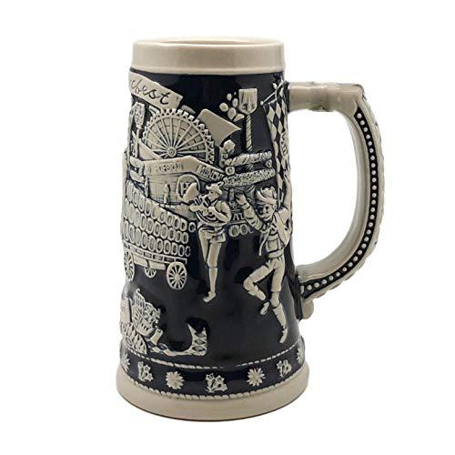 (Beer Stein Blue Munich Oktoberfest Beer Wagon Beer Mug by E.H.G | .75 Liter)