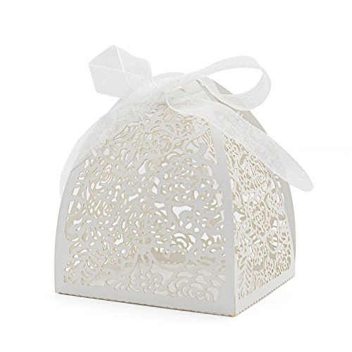 KEIVA Pack of 70 Laser Cut Rose Candy Boxes, Favor Boxes 2.5