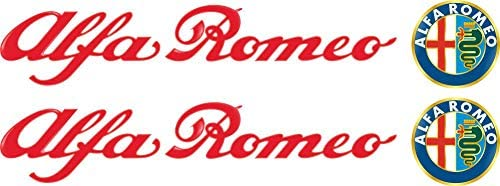 10cm 2stück Aufkleber Folie Wetterfest Made In Germany Kompatibel Für Alfa Romeo Rote Schrift Logo Bunt Ad26 Uv Waschanlagenfest Auto Sticker Decal Profi Qualität Farbig Digital Schnitt Auto