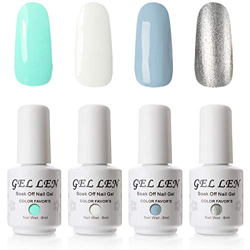 Gellen UV Gel Nail Polish Set, Mint Color Sky Series Vibrant Pure 4 Colors - Salon Home DIY Nail Art Gel Manicure Kit