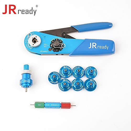 JRready Four indent Crimp Tool Kit ST2060: YJQ-W1A Crimper+Seven Positioners+G125 Go-NoGo Gage for wire/cable contact/pin/socket/terminal Crimping in Connector