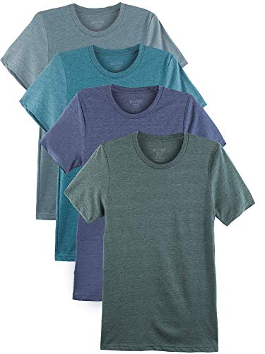 Bolter 4 Pack Men's Everyday Cotton Blend Short Sleeve T-Shirt (XXX-Large, Heather -