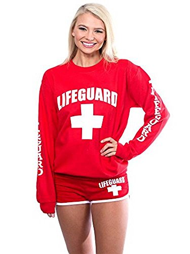 LIFEGUARD Official Ladies Red Crew Neck Sweatshirt (Small, Red) (Girls Sweaters Pullover)
