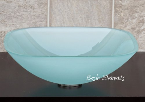 1/2 Thick Bathroom Frosted Square Glass Vessel Vanity Sink with free drain/ring Elimax's NCS1012.1F/p1001