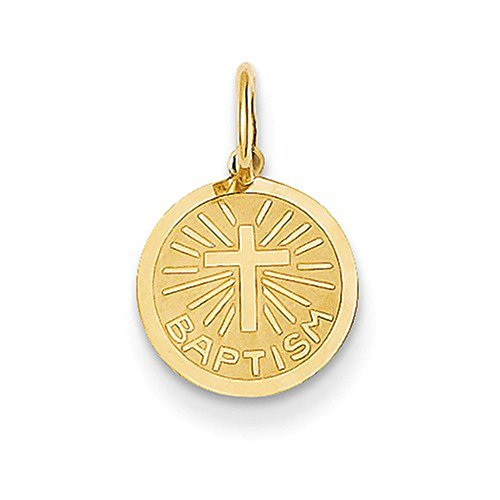 LooptyHoops Tiny14K Yellow Gold Holy Baptism Cross Religious Medal Charm Pendant, 11mm x 10mm