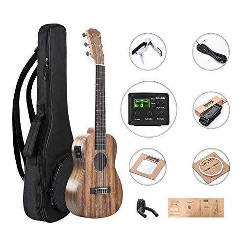 (Caramel 6 Strings CB204G All Solid Acacia Acoustic Electric Ukulele Guitalele with Truss Rod with Aquila Strings, Padded Gig Bag, Strap and Wall hanger)