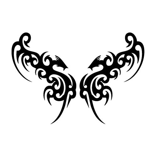 leononlinebox Wings Dragon Face - Tribal Decal [12cm Black] Vinyl Sticker for Car, Bike, iPad, Laptop, MacBook, ()