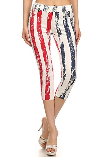 World of Leggings All American Flag Capris - 2017 4th of July Women's clothing