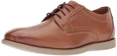 CLARKS Men's Raharto Plain Oxford, Dark tan Leather, 9.5 Medium US