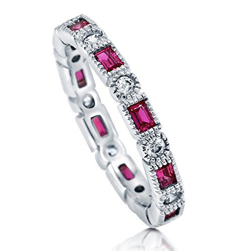 (BERRICLE Rhodium Plated Sterling Silver Simulated Ruby Cubic Zirconia CZ Art Deco Wedding Eternity Band Ring Size 6)