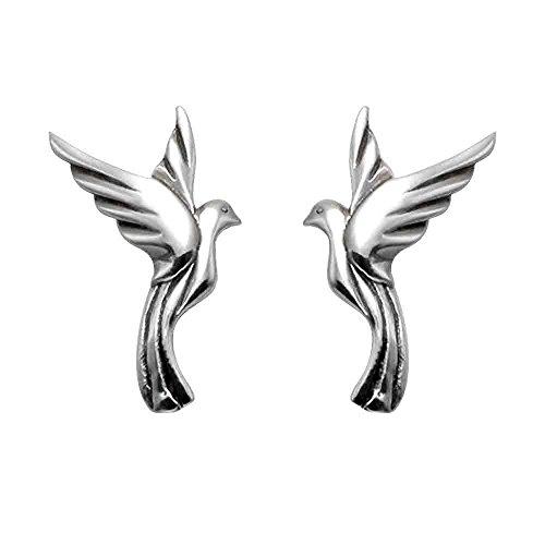 Sterling Silver Flying Dove Stud Earrings