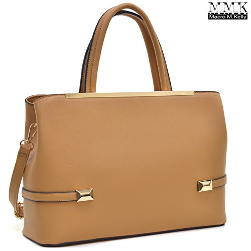 MMK Collection Women Solid Color Large Size PU Leather Simple Concise Business Style(8895N) with Gold Tone Framed Tote Bag Top Handle Bag Handbag with Shoulder Strap (Tan)