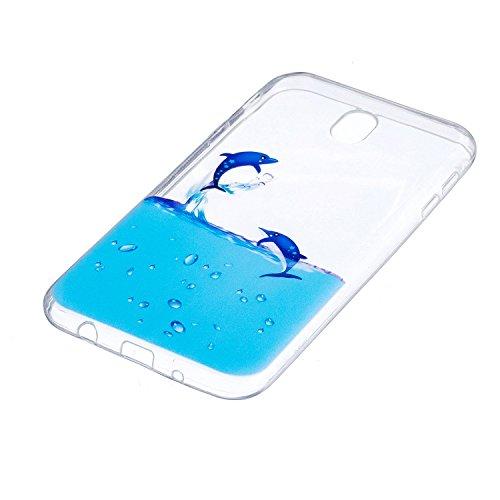 Funda para Samsung Galaxy J7 2017 (Solo disponible en versiones europeas) , IJIA Transparente Unicornio Nubes TPU Silicona Suave Cover Tapa Caso Parachoques Carcasa Cubierta para Samsung Galaxy J7 201 WM8