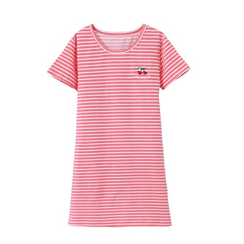 HOYMN Teen Girls' Princess Nightgowns Stripes Sleep Shirts Holiday Nightshirt, Cherry Red, 9-11 Years/Tag 160 (Tags Cherry Red)