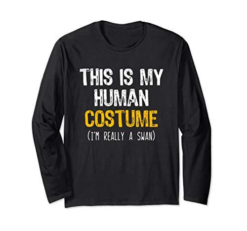 Black Swan Halloween Costume Idea (This Is My Human Swan Halloween Funny Long Sleeve)