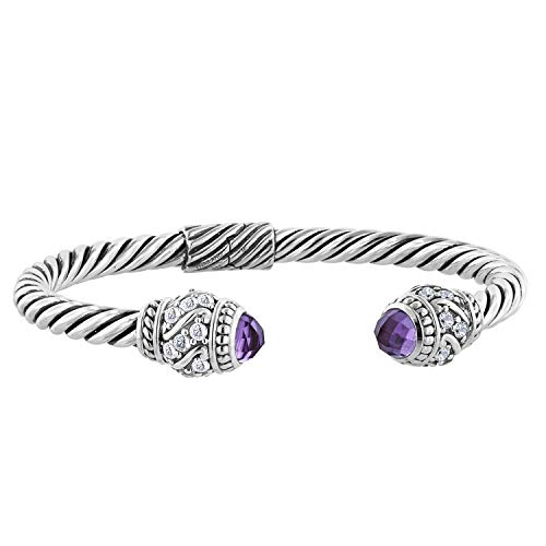 Robert Manse Designs Sterling Silver Gemstone Cable Cuff Bracelet (Amethyst)