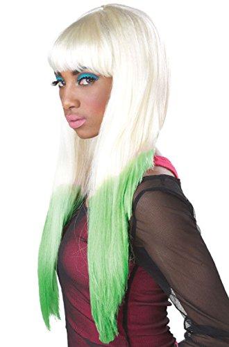 Sexy Nicki Minaj Color Dipped Halloween Costume Wig (Blonde/Green) -