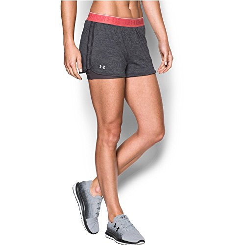 Under Armour Women's HeatGear Armour 2-In-1 Shorty, Carbon Heather (090)/Metallic Silver, X-Small