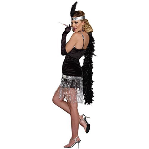 Dreamgirl Women's Simply Fab 1920's Flapper Costume, Black, Medium