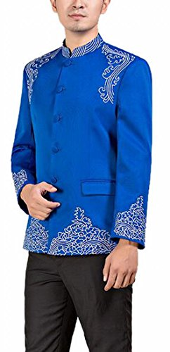 Ptyhk RG Mens Classic Embroidery Wedding Chinese Tunic Suit and Pants Set Blue M by Ptyhk RG