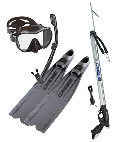 Cressi Gara 3000 LD Fins, Cressi Spearfishing Apache Speargun, Frameless Mask Fin Snorkel Set