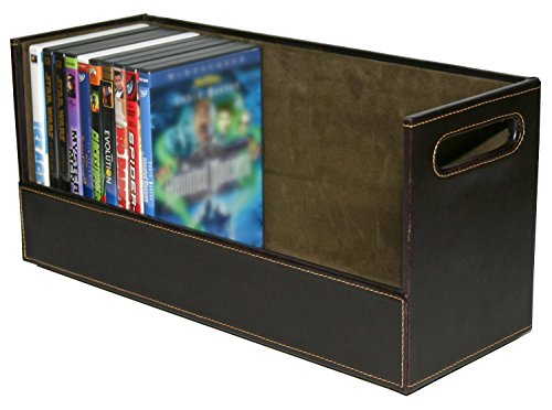 stock your home stackable dvd storage organizer & movie media home storage box for dvd/bluray/video game shelf storage & organization - holds 28 dvds- chocolate