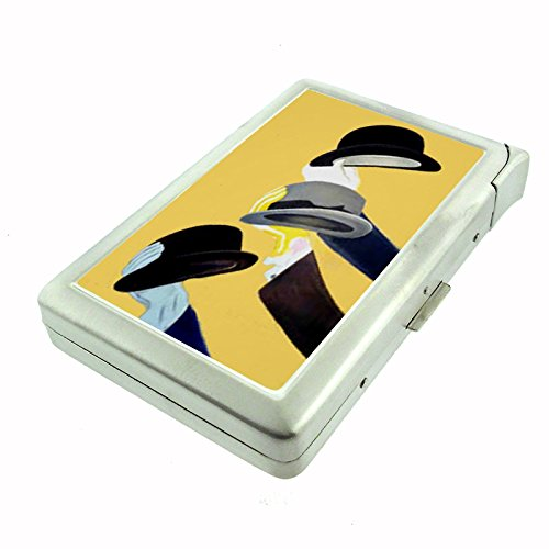 Perfection In Style Metal Cigarette Case with Built In Lighter Vintage Art Deco Design 008 - Cigarette Lighter Style