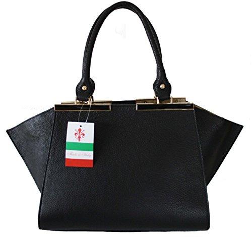 Sa Lucca Ledertasche Schultertasche W-TSC-22 Henkeltasche Damentasche schwarz ua4yLVNHc
