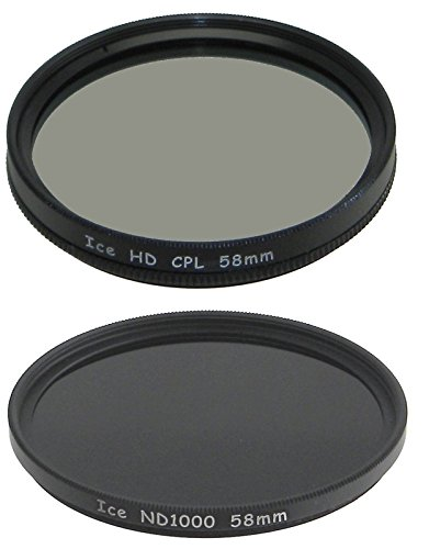 ICE 58mm Filter Set ND1000 & CPL Neutral Density ND 1000 58 10 Stop Optical - Polarising Filter Glasses