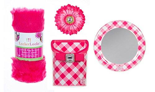 Locker Lookz Pink Gingham Locker Rug, Bin, Mirror, and Magnetic Flower Set