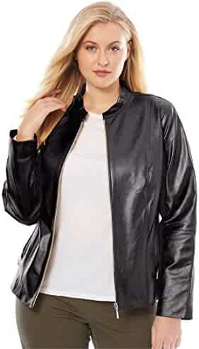 c4f11e2f18b27 Jessica London Women s Plus Size Zip Front Leather Jacket