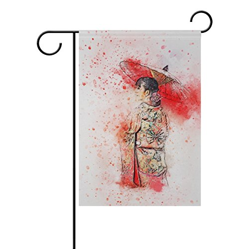 Home Decorative Outdoor Double Sided Girl Umbrella Art Abstr
