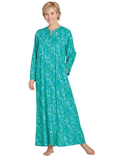 AmeriMark Print Knit Long Zip Robe Aqua