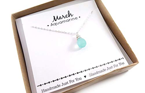 - Aquamarine Gemstone March Birthstone Necklace - Sterling Silver Briolette Teardrop Jewelry - Gift for Her